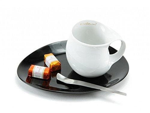 Luigi Colani Designer Café Taza Bicolor (Blanco + Negro Ovalado Posavasos + Designer Cuchara) Diseño Regalo de navidad para hombres