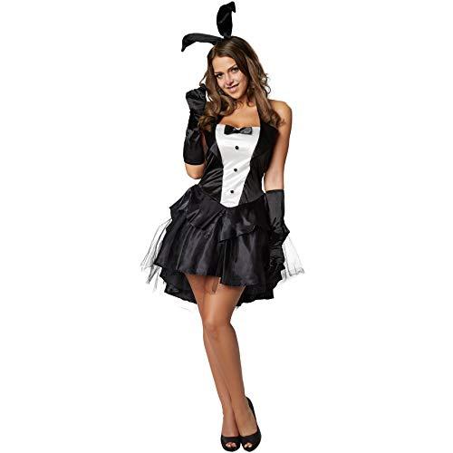 dressforfun 900476 - Damenkostüm sexy Bunny, Kurzes Kleid mit Neckholderoberteil und fünflagigem Rock (L | Nr. 302122)