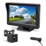 Peizeen Backup Camera Wire 4.3 inch Screen with 8 LED Lights Rear View Camera IPK69 Waterproof Night Vision Reversing System, for Within 26FT Cars, RVs, Pickups, Minivans, Mini Trailer.