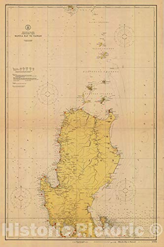 Historic Pictoric Vintage Map - Manila Bay to Taiwan Northern Part, 1926 Nautical NOAA Chart - (PH) - Vintage Wall Art - 44in x 66in