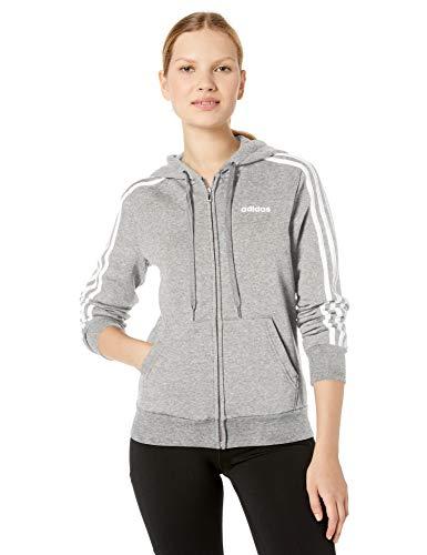 adidas Damen Essentials Fleece Hoodie 3-Streifen Sweatshirt, Damen, Reißverschluss, Sweatshirt, Essentials 3-Stripes Fleece Full-Zip Hoodie Sweatshirt, Medium Grey Heather/White, Small