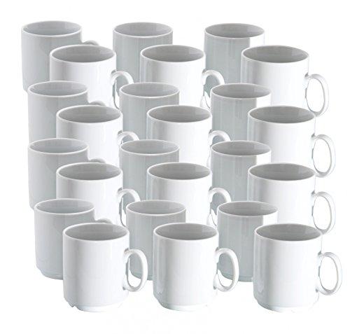 24er Set Van Well Porzellan Kaffeebecher Profi 280ml weiß stapelbar