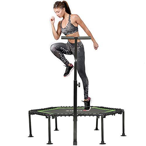 Kicode Fitnesstrampolin - Ø 127 cm mit höhenverstellbarem Haltegriff