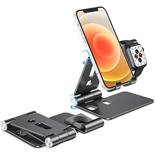 OMOTON 2 en 1 Soporte para Teléfono Móvil y Apple Watch, Móvil Mesa y Reloj Base Plegable de Carga de Aluminio para iWatch 5 4 3 2 1 SE y iPhone 12 Pro Max 12 Mini 11 Pro Max SE XR XS 8 Plus, Negro