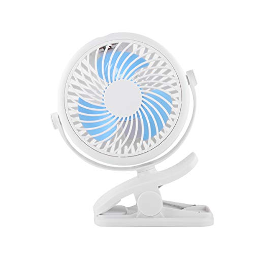 HUALAI Mini Desk Clip on Fan, 3 Speed 360 Adjustable Cooling Desktop Fans Table Fans, Perfect for Baby Stroller Car Laptop Table Camping Outdoors Home Office (Blue)