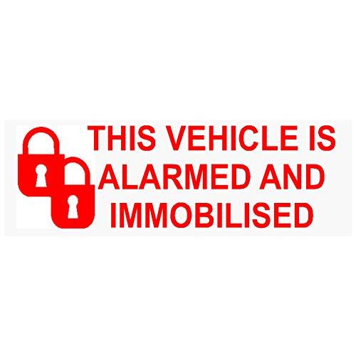 5x Alarma y inmovilizador Fitted stickers-padlock-red clear-alarmed y inmovilizado advertencia de seguridad ventana signs-car, Van, Camión, Caravana, Autocaravana, camión, Taxi, automóvil, aviso