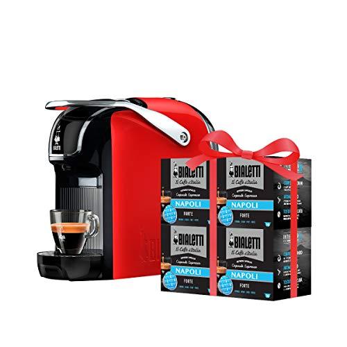 Bialetti Break - Macchina Caffè Espresso a Capsule in Alluminio con Sistema Bialetti il Caffè d'Italia, Design compatto, Rosso, Include 64 Capsule In Omaggio