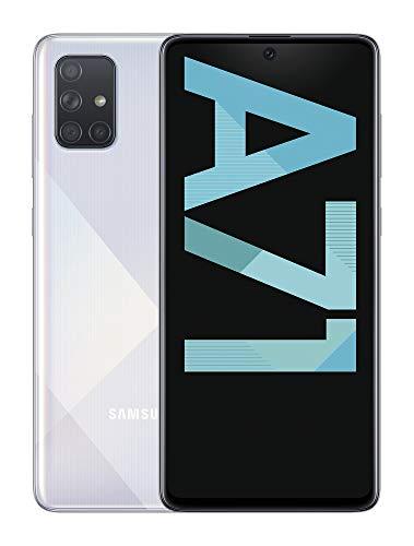Samsung Galaxy A71 - Smartphone de 6.7' FHD+ (4G, Dual SIM, 6 GB RAM, 128 GB ROM, Cámara Trasera 64.0 MP + 12.0 MP (UW) + 5.0 MP (Macro) + 5 MP, Cámara Frontal 32 MP) Color Plata []