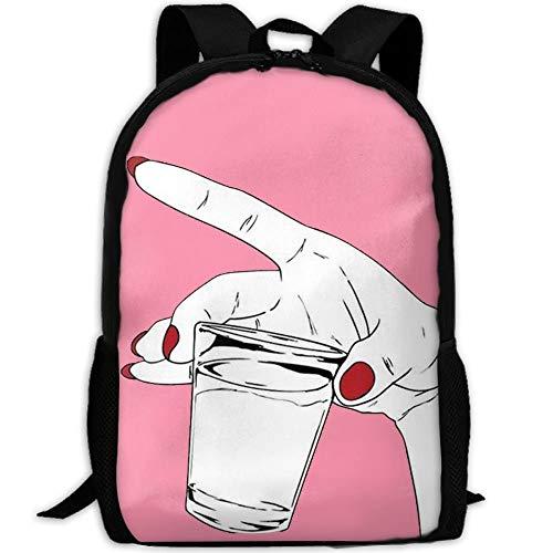 VNFDAS Rucksack mit rotem Nagellack Hand mit Tasse, 3D-Druck, für Schule, Laptop, Tagesrucksack, Reisetasche für Unisex
