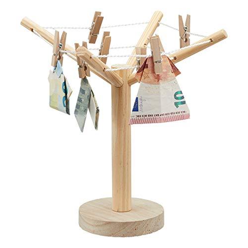 KAMACA Geldgeschenk Wäschespinne Geschenkverpackung für Geldgeschenke Gutscheine inklusive 8 Klammern & Faltanleitung (Geldgeschenk Wäschespinne)