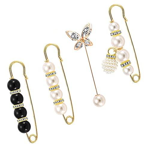 4 piezas de broches para damas, imperdibles, botones de perlas, broches de perlas, abrigos de chal, accesorios de vestir para damas y niñas
