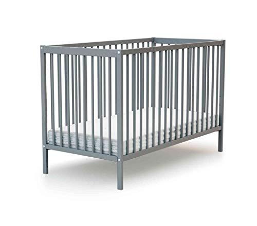 Lit bébé à barreaux en bois gris 60x120