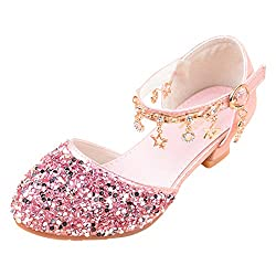 04 Pink Sparkle Mary Janes Low Heel Sandals
