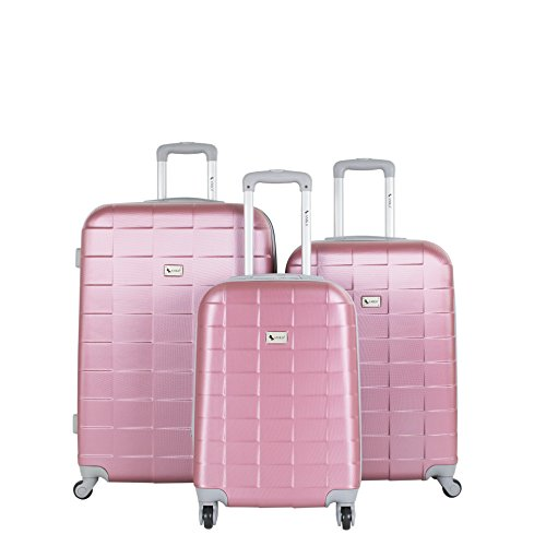 AMKA Lightweight Abs Spinner Expandable Luggage Set, Mauve, 3 Piece