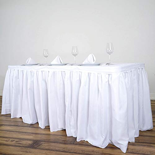 Efavormart 17ft White Accordion Pleat Polyester Table Skirt for Kitchen Dining Catering Wedding Birthday Party Decorations Events