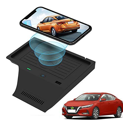 Cargador de coche inalámbrico para Nissan Sentra B18 2020 2021 Accesorios Consola central Alfombrilla de carga inalámbrica, Cargador de teléfono de carga rápida de 10 W para iPhone, Galaxy, Huawei
