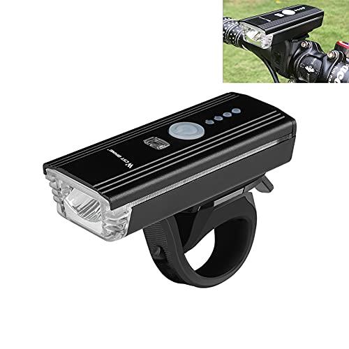 LULUMI Conjunto de luces de bicicleta luz delantera brillante linterna LED con cuerno USB carga inducción Ciclismo faro impermeable antorcha bicicleta luz