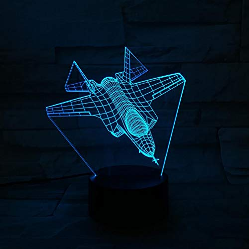 LIkaxyd 3D Illusion Night Light Fighter Plane 7 Color Changing Optical Illusion Lights with Acrylic Flat,Abs Base,USB Cable for Holiday