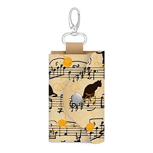 Notas musicales y gatitos Funda de cuero llavero titular de la tarjeta de dinero cartera bolsa 6 llaves organizador bolsa