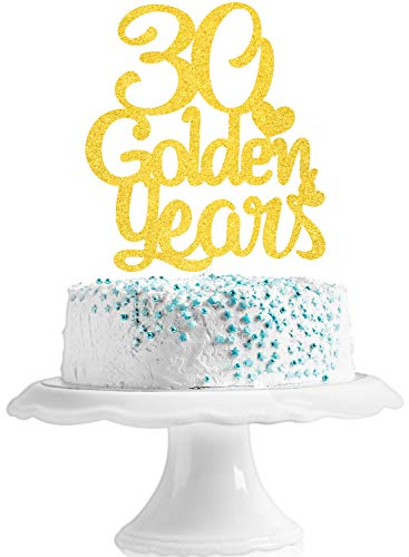 30 Golden Years Anniversary Cake Topper - Fabulous 30th Birthday Party Gold Glitter Cake Supplies - Cheers To Thirty Years Party Decoration
