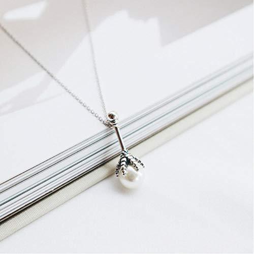 Halskette 925 Sterling Silber Persönlichkeit Mace Pearl Chicken Claw Anhänger Fine Jewelry