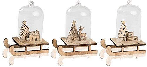 CHICCIE Lot de 3 décorations en forme de traîneau pour sapin de Noël