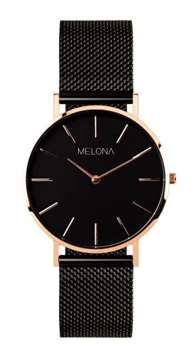Reloj Analógico para Mujer de Cuarzo con Correa de Acero Inoxidable (Negro)