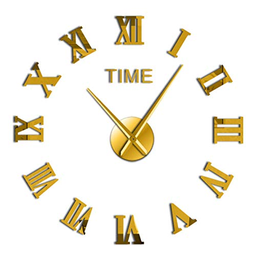xinxin Reloj de Pared DIY Clásico Números Romanos Reloj de Pared Reloj Moderno Reloj 3D Espejo acrílico Kit de Superficie Decoración Etiqueta silenciosa Espectáculo Creativo