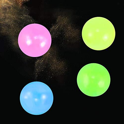 MMTX 4 Bolas para aliviar el estrés, Juguetes para apretar, Bolas Adhesivas, Bolas Adhesivas oscuras para el Techo, Bolas Adhesivas para Pared, aliviar la ansiedad de niños y Adultos (5.5CM)