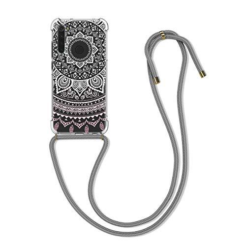 kwmobile Funda con Cuerda Compatible con Xiaomi Redmi Note 8 - Carcasa de TPU con Colgante Sol hindú Rosa Claro/Blanco/Transparente