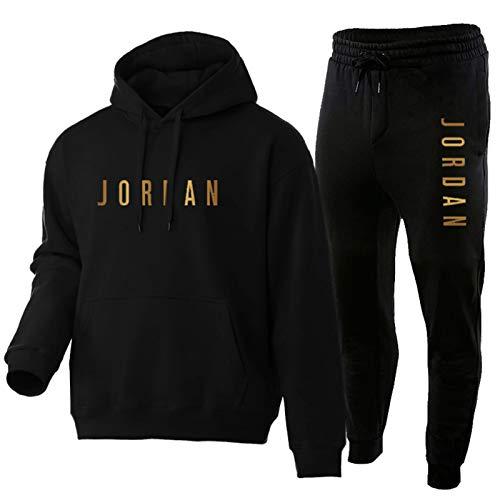 Trainingsanzug Set Herren,Jungen Jordan Sportanzug Hoody Sweatshirt Und Sweatpants,Comfy 2 Piece Outfit Set Hoodies Und Hosen Black-M
