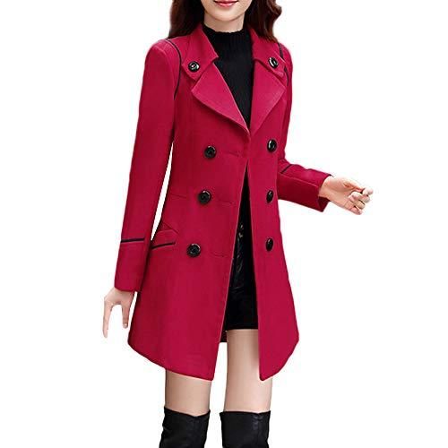 iHENGH Damen Herbst Winter Bequem Mantel Lässig Mode Jacke Frauen Wolle Zweireiher Mantel Elegante Langarm Arbeits Büro Mode Jacke(Wein, L)