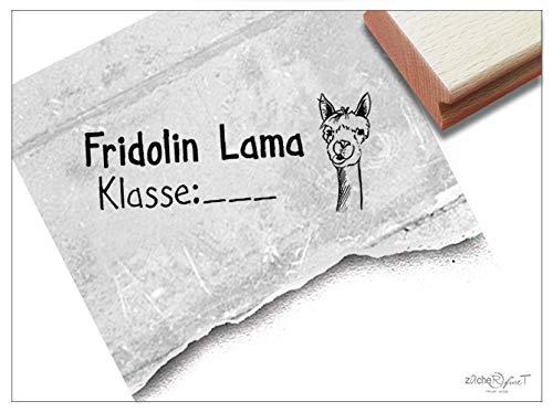 Stempel Individueller Namensstempel Lama - Stempel personalisiert Name Klasse Tier Schulstempel Geschenk für Kinder Schule Einschulung - zAcheR-fineT