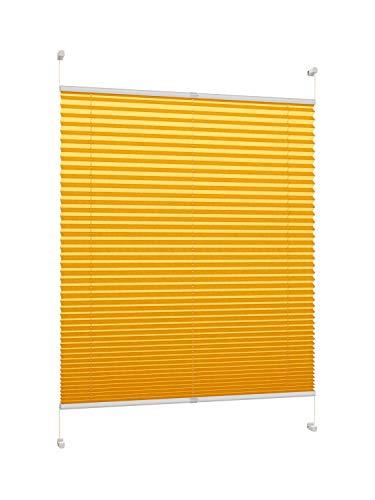 DecoProfi PLISSEE melonengelb, verspannt, Breite 50cm x 130cm (max. Gesamthöhe Fensterflügel), mit Klemmträger/Klemmfix/ohne Bohren