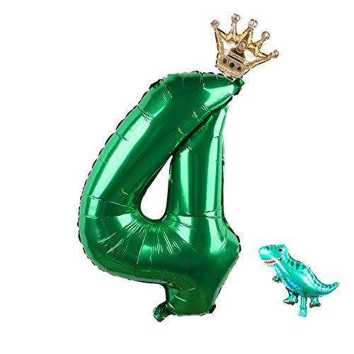 Amycute 4er Cumpleaños Globos de Dinosaurio, Feliz cumpleaños Decoración Globos 4 Años en Verde, Globos Digitales Gigante del papel de aluminio para 4 año de Fiesta de cumpleaños Niños