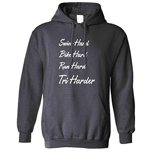 Triathlon Sweat à Capuche Natation, vélo et Course Dur - Tri Plus Dur Charcoal Large