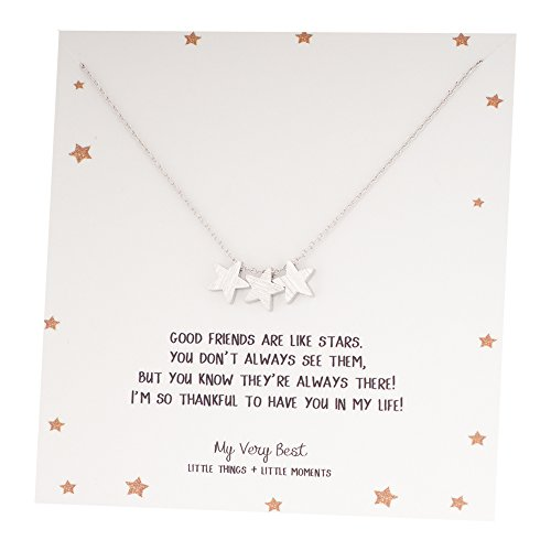 My Very Best Triple Star Necklace, Best Friend Gift Necklace (silver plated brass)