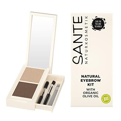 Sante Naturkosmetik Natural Eyebrow Kit, Set aus Augenbrauenpuder, Applikator, Bürstchen & Pinzette, Natural Make-up, Vegan, 2,4 g
