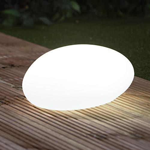 EASYmaxx Solar-Deko-Stein mit Farbwechsel | Moderne Außen-Gartenleuchte mit Fernbedienung | Solar-Kugel-Lampe für In- und Outdoor | Wasserfest nach IP67
