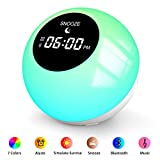 Wake- Up Light, Sunrise Alarm Clock with 7 Colored Atmosphere Lamp & Sleep Aid Feature, Bluetooth Speaker Alarm Clock for Heavy Sleepers, Digital Clock for Bedrooms- 6 Nature Sounds & Snooze Function