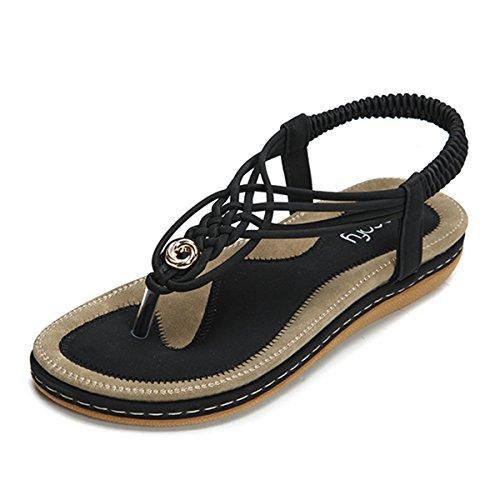 gracosy Summer Sandals for Women, Flat Sandals Flip Flops Thongs Clip Toe Slip On Elastic T-Strap Bohemia Beach Slippers Black 8.5 M US