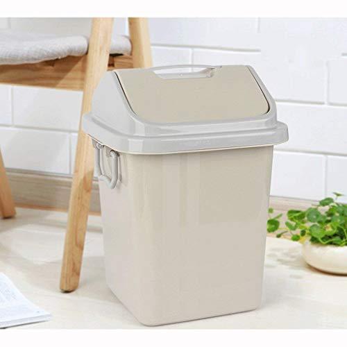 Cubos De Basura Papelera de baño con tapa abatible con bisagras Papelera de basura de plástico para aparadores y encimeras   Ideal como un cubo de basura debajo del fregadero para desechar prod