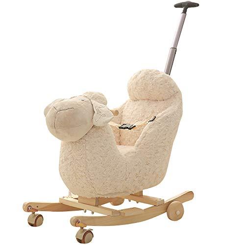 LYXCM Children Wooden Lamb Shaped Rocking,Horse Wooden White Plush Rocking Sheep Toy for Toddler Baby 1-3 Years