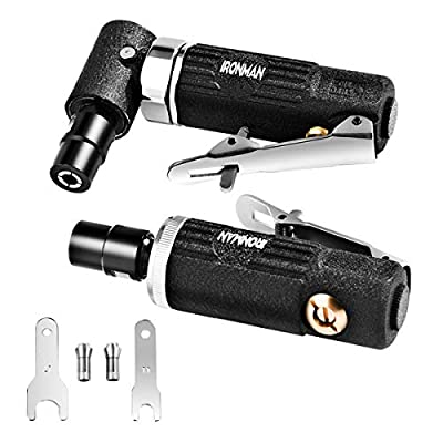 Goplus 2PCS Air Die Grinder Set, Straight/Angled Air Die Grinder Kit with 1/4'' and 1/8'' Collets, Compact Air Power Die Grinder for Grinding, Chamfering, Polishing