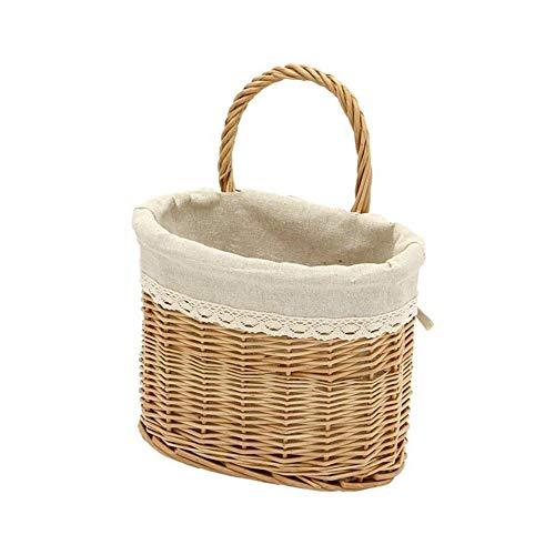 Millster Cesta de cocina para colgar en la pared, cesta de mimbre para colgar en la pared, cesta de almacenamiento hecha a mano, para el hogar, cocina y frutas