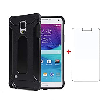 Phone Case for Samsung Galaxy Note 3 with Tempered Glass Screen Protector Cover and Cell Accessories Heavy Duty Rubber Rugged Dual Layer Slim Silicone Soft Glaxay Note3 N9005 Women Men Cases Black
