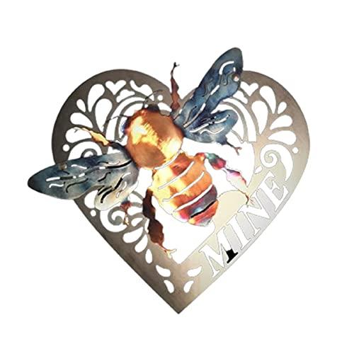 JJyy Décoration murale en métal pour intérieur ou extérieur - Motif abeilles