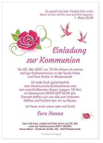 Unser-Festtag Blühende Rose Kommunion Kommunioneinladungen für Mädchen schön edel - eigenen Text eingeben, personalisiert - 10 Karten