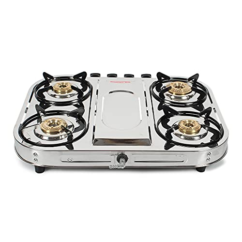 Khaitan ISI Approved 4 Brass Burner Draw Front Taper PRO Stainless Steel Manual Ignition LP Gas Stove (with Extra Big Party Cooking Burner) , Silver