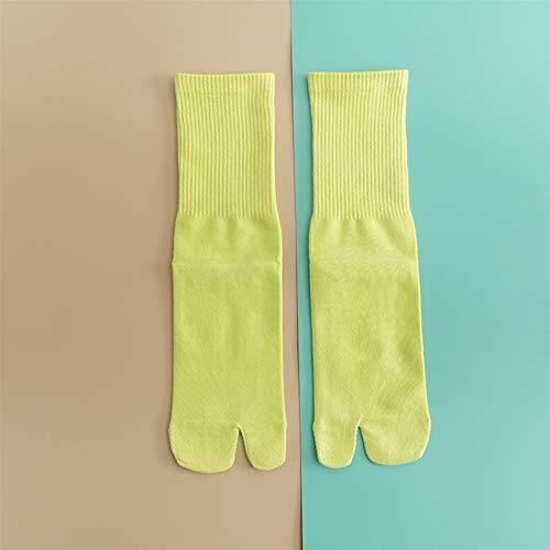 Aohro Calcetines de mujer de color sólido para mujer, calcetines de algodón de moda (color: amarillo fluorescente, talla: Código)